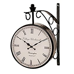 RoyalsCart Double Sided Vintage Victoria Railway Station Analog Wall Clock