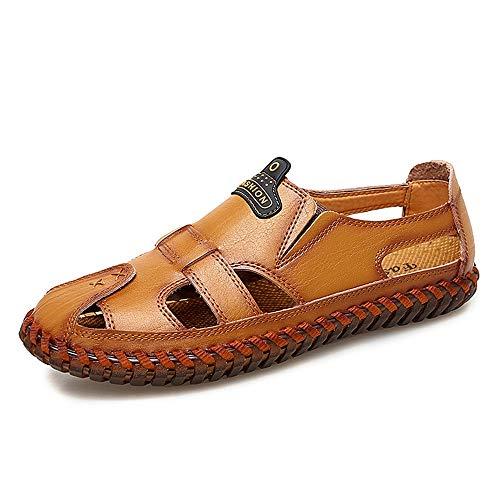 CDYEGSJ Sandalias Transpirables Huecas de Verano Borde Cosido a Mano Antideslizante Zapatos Casuales for Caminar al Aire Libre (Color : Reddish Brown, Size : 43 EU)