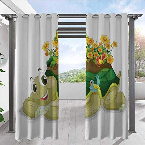 Custom Outdoor Curtain Funny Floral Turtle Talking with Colorful Humming Birds Tortoise Ninja Home Decoration Indoor Outdoor Blackout Privacy Curtain Perfect for Your Pergola Multi W84 x L96 Inch