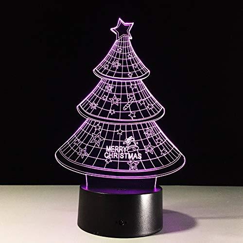DFDLNL Weihnachtsbaum 3D Nachtlicht Sammler 3D Led Atmosphäre Tisch Schreibtischlampe USB 7 Farbwechsel Weihnachtsfeier Dekoration