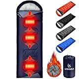 UooEA Heated Sleeping Bag, Temperature Adjustable, 4 Season Warm & Cold Weather, Lightweight, Portable, Waterproof Sleeping Bag with Compression Sack for Adults & Kids - Camping, Backpacking, Hiking