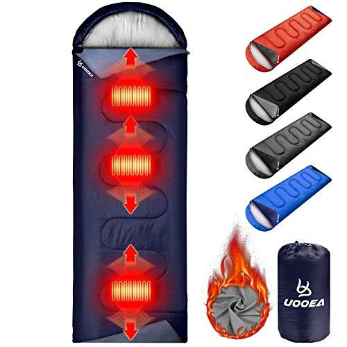 UooEA Heated Sleeping Bag, Temperature Adjustable, 4 Season Warm & Cold Weather, Lightweight,...
