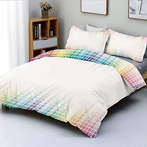 Juego de funda nórdica, arte digital, musical, volumen, tono, imagen absoluta, azulejos de mosaico cuadrados pequeños, juego de cama decorativo de 3 piezas con 2 fundas de almohada, multicolor, el mej