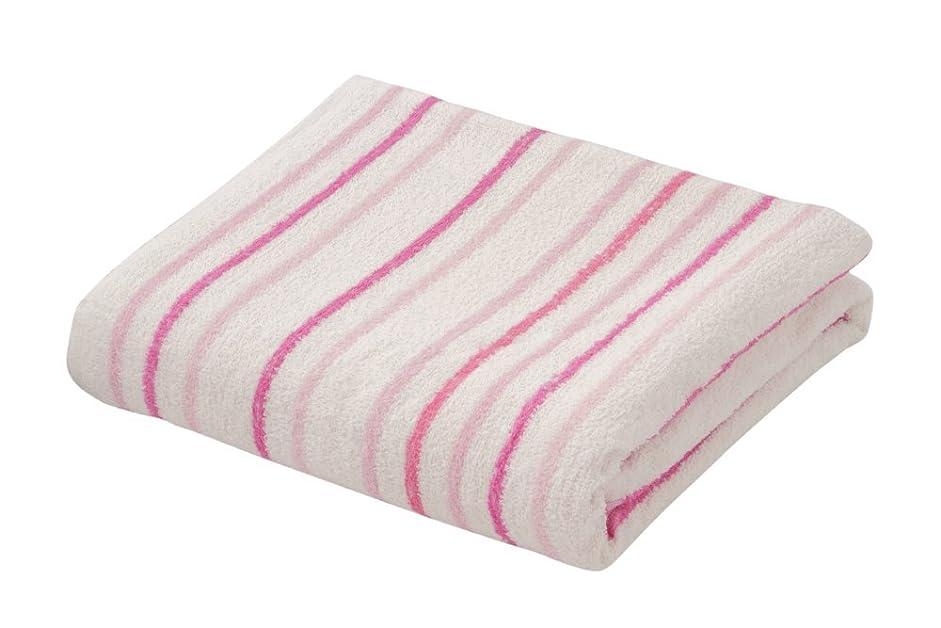 モーテル砂利開梱先染めストライプ柄タオルケット 綿100% タオルケット ストライプ コットン100% 綿 コットン (シングル, ピンク)