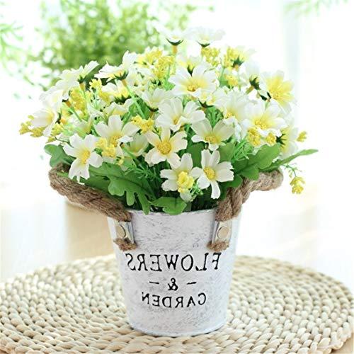 Start 40 Flores decoración florero Europeo de la simulación crisantemo Blanco casa Retro Artificial Olla Conjunto crisantemo Artificiales Habitaciones Adornos creativos Que Viven