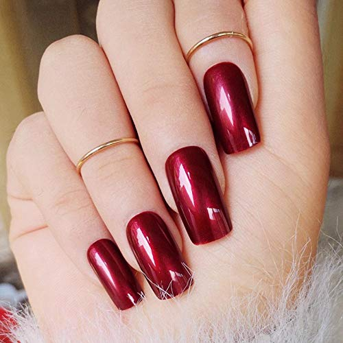 CLOAAE Special Reflection Vampire False Nails Shiny Square Long Solid Nail Sticker With Tail Z431