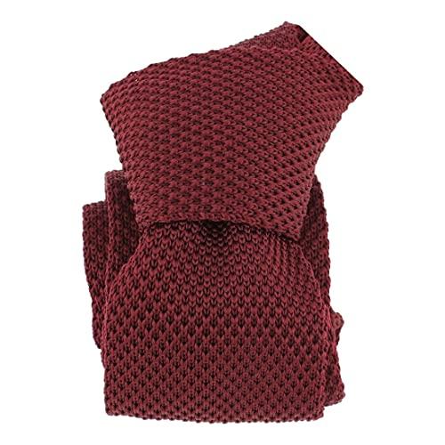 Clj Charles Le Jeune. Cravate tricot. Dandy Farmer, Microfibre. Rouge, Uni.