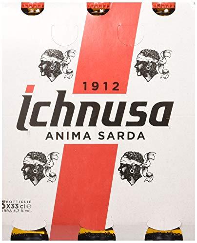 Ichnusa Set 8 Birra in Bottiglia 33x3 Vetro Bevanda alcolica da tavola, Multicolore, Unica, 8 unità