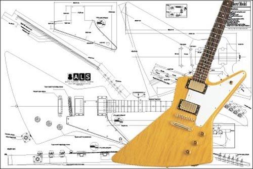 Bauplan der E-Gitarre Gibson Explorer, Originalmaßstab