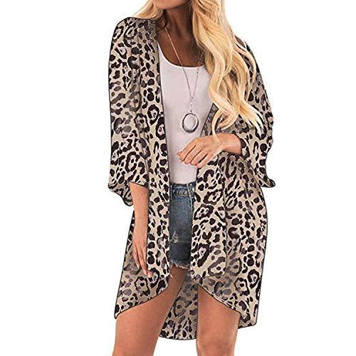 Vrouwen Luipaard Print Cover Casual Blouse Tops Kimono Bikini Cardigan Capes Cover,M,C