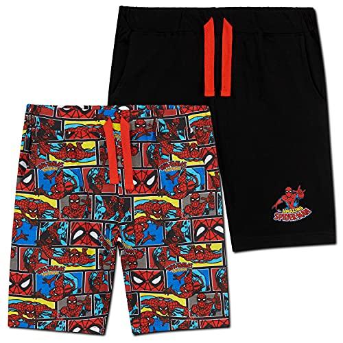 Marvel Short Garçon Spiderman, Lot de 2 Shorts en Coton avec Poches, Bermuda Enfant Garçon et Ado 2 à 14 Ans, Cadeau Spider Man Enfant (Red/Black, 13-14 Ans)