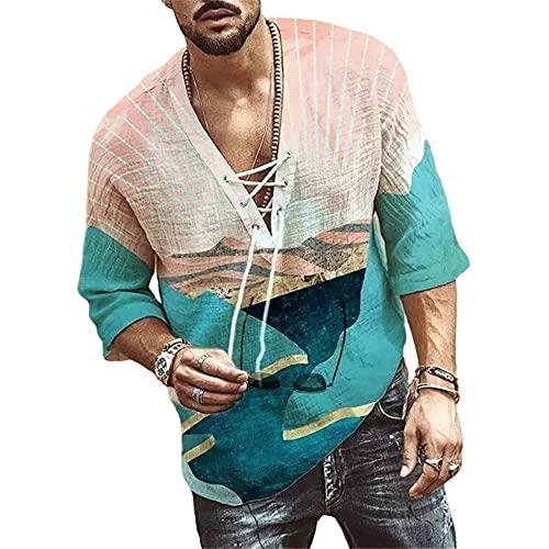 Shirt Casual Hombre Verano Cuello En V Cordones Manga Corta Hombre Shirt Transpirable Estampado Creativo Media Manga Hombre T-Shirt Suelta Cómoda Tendencia Hombre Ropa De Calle