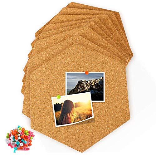 8 piezas Tablero de corcho, Hexágono Corcho Tablero Corcho, Corcho Pared Autoadhesivo, tablones de corcho autoadhesivos para DIY para colgar fotos, decoración del hogar y notas de oficina