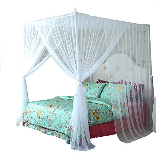 Mengersi 4 Corner Bed Canopy Curtain Bed Frame Draperies Bedroom Decoration (Queen, White)