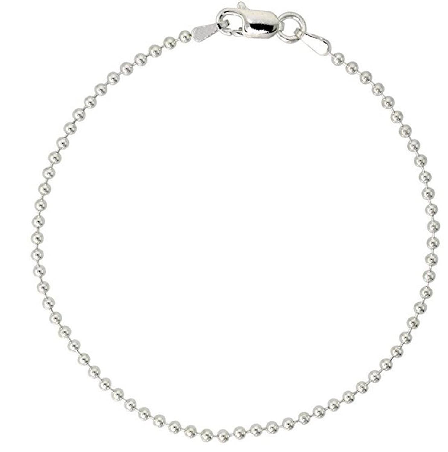 Sterling Silver Bracelet Pallini Bead Ball 7 inch Dainty Cute Chain for Women Girls Anniversary Birthday Mother's Gifts SB1-B
