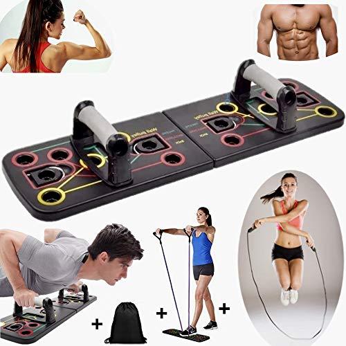 FainingsSport 13 in 1 liegestütze Brett- Push Up Rack Board mit 3 Wochen Trainingsplan. Das fitnessgeräte für zuhause ist Unisex. gymgrizzly, Springseil, bauchtrainer für zuhause