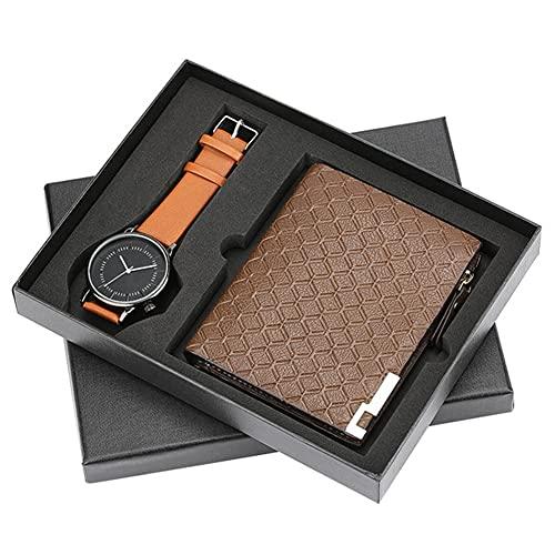 ZOZIZZ Conjunto de Regalos para Hombres Bellamente empaquetado Reloj + Billetera Conjunto de Cuero Creative Combinación Conjunto de Regalo Dulce para su Novio Marido Amante,C