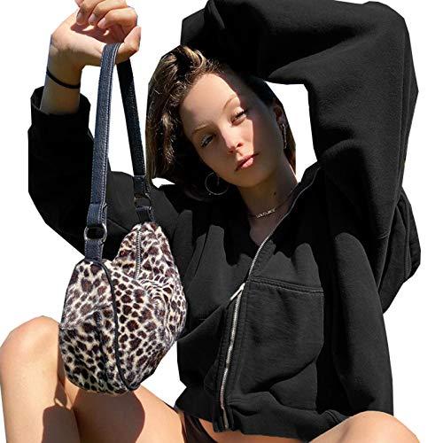 TR-yisheng Sudadera con Capucha para Mujer, Color sólido de otoño e Invierno más Jersey con Capucha y Cremallera de Terciopelo, Top Suelto (Negro, marrón)