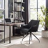 Volans Modern Mid Back Matte Black Faux Leather Home Office Desk Chair No Wheels