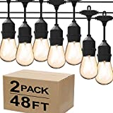 Magictec LED Shatterproof String Lights Commercial Grade with 15 Hanging Sockets 48 Ft Black Outdoor Weatherproof Cord Strand for Patio Garden Porch Backyard Bistro Gazebo Party Deck Yard, 2 Pack
