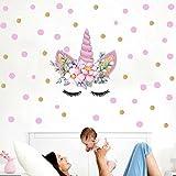 FLYFISH Colorful Flower Animaux Licorne Stickers muraux pour Chambre d'enfant Bonne fête des Filles Chambre fenêtre Nursery décor Cadeau d'anniversaire (Unicorn06)