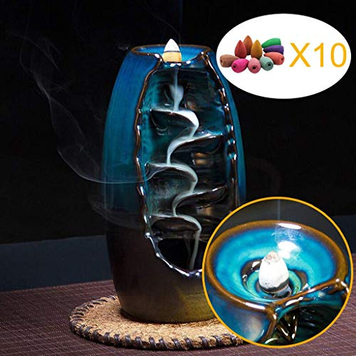 Lisaion Quemador de Incienso de reflujo de cerámica para aromaterapia, Horno, aromático, para casa, Oficina, Incienso, Manualidades, Torre de Incienso con 10 Conos