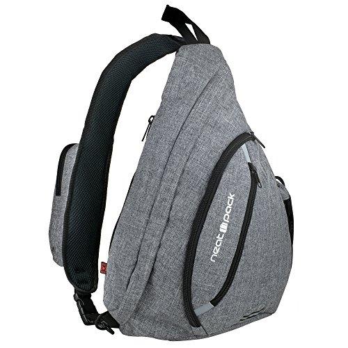 Versatile Canvas Sling Bag / Travel Backpack   Wear Over Shoulder or Crossbody (Gray)