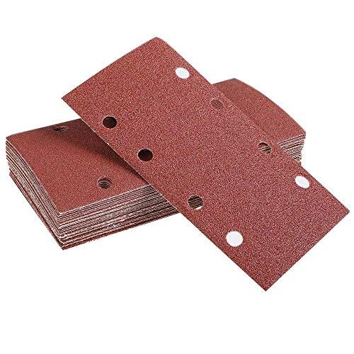 GFHDGTH 25 stuks schuurpads, schuurpapier klittenband zandblad 93x185 mm, gestanst, 8-gatkorrel, 40/60/80/120, geschikt voor excenterschuurmachines