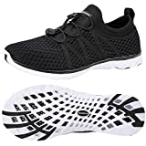 ALEADER Water Shoes Womens for Water Sports, Walking, Travel Black/White 8 B(M) US