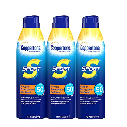 Coppertone Sport Continuous Sunscreen Spray Broad Spectrum SPF 50 Multipack (5.5 Ounce Bottle, Pack of 3) (Packaging May Vary), 16.5 Oz