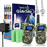 Wishouse Rechargeable Walkie Talkies for Kids with Charger Battery,Family Two Way Radio Long Range,Outdoor Game Camping Spy Amy Police Toy,Birthday Party Gift for 4 5 6 7 8 9 10 Year Old Girl Boy Camo