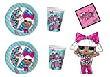Party Store web by casa dolce casa LOL Surprise Coordinato ADDOBBI Festa - Kit n°37 CDC-(16 Piatti, 16 Bicchieri, 20 TOVAGLIOLI,1 Pallone SUPERHSAPE)