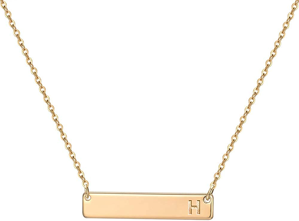 M MOOHAM Bar Free shipping on posting reviews Initial Lowest price challenge Necklace for Women Plat 14K Gold Rose