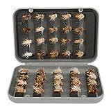 40pcs kit per mosche per pesca a mosca, esca per pesca a mosca esca artificiale esche artificiali esche per insetti con gancio mosche secche kit esche per insetti ganci accessorio per la pesca