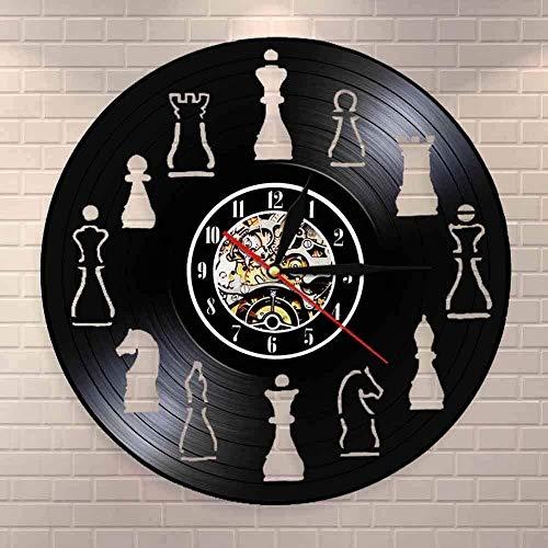 Reloj De Pared De Vinilo Piezas De Ajedrez Decoración De Arte Para El Hogar Club De Ajedrez Reloj De Pared Diseño De Interiores Sala De Estar Disco De Vinilo Reloj De Pared Ajedrez Regalo De Amante D