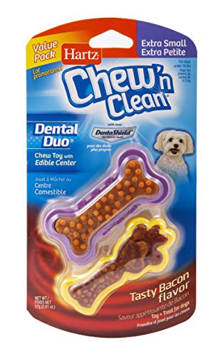 Hartz Chew 'n Clean Dental Duo Bacon Flavored Dental Dog Chew Toy and Treat - Extra Small, 2 Pack
