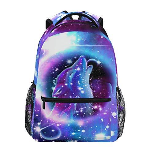 Galaxy Wolf School Backpacks for Kids Boy Girls 3D Animal Star Space Backpack Bookbags School Bag Daypack 14 inch Laptop Backpacks Camping Travel Outdoor Shoulder Bag