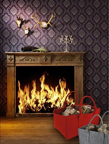 Bolsa de fieltro gris oscuro para leña, cesta de fieltro, cesta para leña, cesta de fieltro, soporte para periódicos