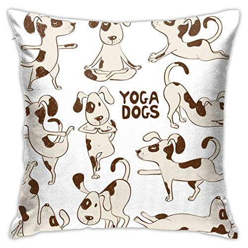 Funny Dog Icons Doing Yoga Pillow Cases Decorative Throw Pillow Case Decor Home Sofa Bedroom Square Pillow Printed Car Bed Couch Living Room; 45 x 45 cm