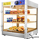 3-Tier Food Pastry Pizza Warmer Countertop Commercial Display Case See Through 750W Adjustable Removable Shelves Glass Door 20x20x24'