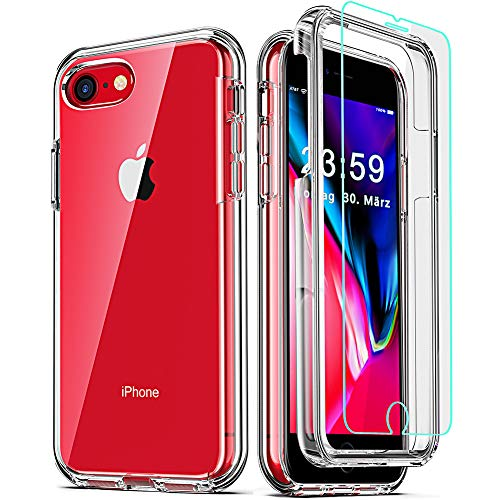 COOLQO Compatible for iPhone 8 /iPhone 7 /iPhone 6S/6 Case, with [2 x Tempered Glass Screen Protector] Clear 360 Full Body Coverage Hard PC+Soft Silicone TPU 3in1 Shockproof Phone Protective Cover