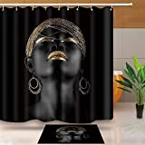 NEWTOO Afro Girl Shower Curtain, Black Girl Golden Lips Decor Set with 12 Hooks 72 X 72 in Waterproof Polyester Fabric, Bathroom Accessories, LHNT406-72