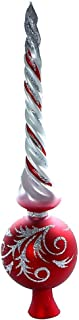 HolidayGiftShops Twisted Red Matte Glass Christmas Tree Topper