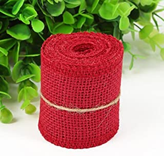 Huachnet Natural Jute Burlap Ribbon Roll Fabric for Wedding Party Home DIY Decoration (Dark Red)-Pack of 1