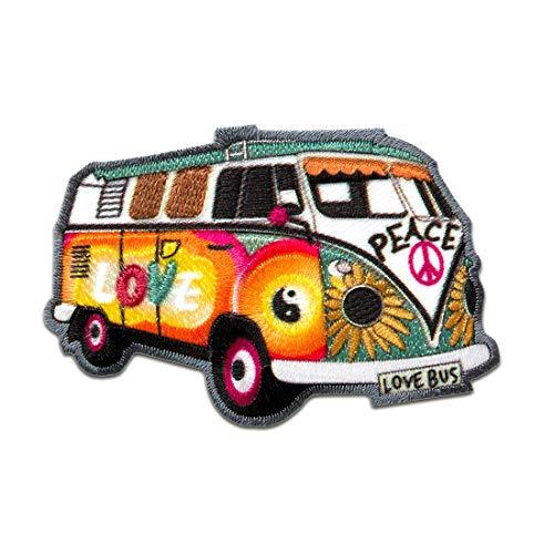 Parches - Hippie Bus Bully Love Peace coche - colorido - 7,2x4,8cm - termoadhesivos bordados aplique para ropa