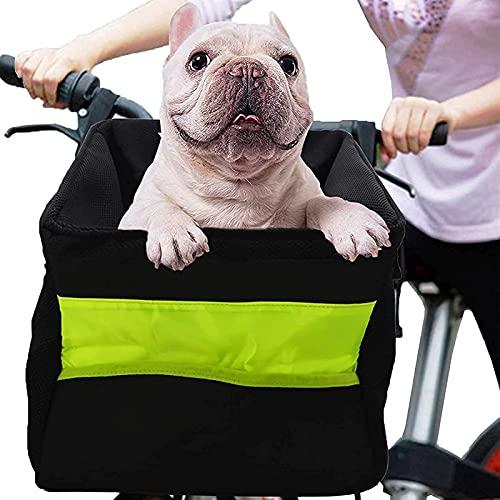 WeZest Pet Asiento de Coche Cesta de Bicicleta para Perro, Cesta de Perro para Manillar Delantero, Bolsa de Bicicleta para Mascotas para Perros Gatos, Mochila de Cesta para Perro, Bolsa de b