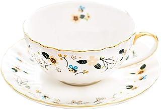 Flower Bee Tea Cups and Saucers, Coffee Bone China Mug 1 Set (1 Cup and 1plate)