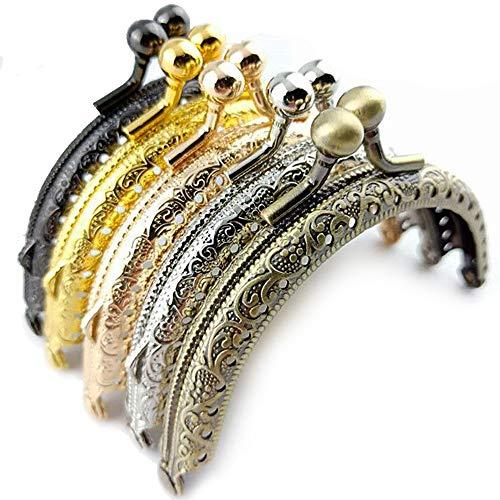 Gurxi Taschenbügel zum Verschluss Bronze DIY Muster Handtasche Taschenbügel Handwerks Rahmen Kuss Verschluss Verschluss Taschenbügel mit Clip zum Einnähen Taschenzubehör1 Satz mit 5 Stück (5 Farben)