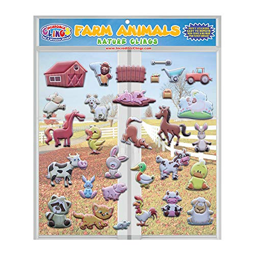 Farm Animals (by Incredible Gel and Window Clings) Reusable Puffy Sticker Window Clings for Kids - Windows, Walls, Bedrooms, Plane Travel - Horses, Ducks, Chickens, Cat, Bunny, Pig and More