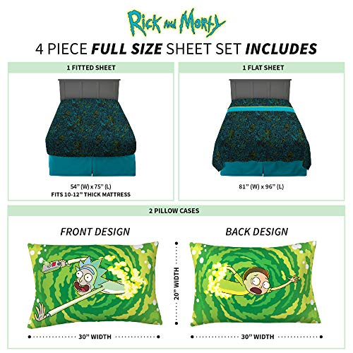 Franco Kids Bedding Sheet Set, 4 Piece Full Size, Rick and Morty